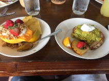 Papaya bowl and avocado toast
