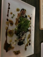 Pan Roasted Mission Figs, shallot walnut relish, creamy gorgonzola, aged balsamic, prosciutto, baby arugula