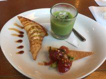 Pork & Foie Gras Wonton, Ahi Nacho, Chilled Asparagus Soup