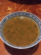 Harrira soup: Tomato broth base with chicken, vegetables, chickpeas, mildly spiced with pepper and Mediterranean spices