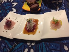 Papa's Sashimi: Ono: with lime, green chili oil, papaya and Maui pink sea salt. Ahi with ponzu, watermelon radish, red shiso and Kukui nut. Kanpachi with Maui onion-fig jam and Molokai black sea salt.