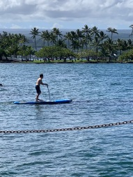 Josh trying out the SUP board with peddles.
