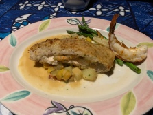 Mama's Stuffed Fish: Stuffed with lobster and crab, baked with a Macadamia nut crust