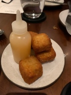 Kalua Pork & Cabbage Croquettes with Chili Pepper Water