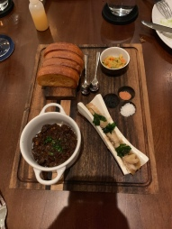 Roasted Bone Marrow: Beef Cheek Marmalade, Hawaiian Sweet Rolls, Piccalilli