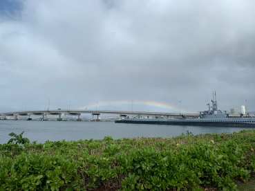 Waiting out the rain at Pearl Harbor.