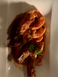 Kauai Shrimp: Saffron Poached-Grilled Pineapple, Sweet and Spicy Heirloom Tomato Sauce