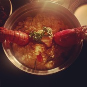 Jumbo Lobster Risotto: Caribbean lobster, sea asparagus, marscapone, hamakua mushrooms, roasted cherry tomatoes