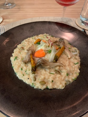 Risotto: Poached egg, roasted carrots, mushrooms