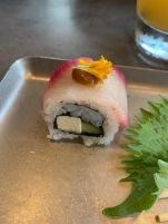 1st Course: Yukari Cured Hamachi Maki Kaiware | Roasted Tofu | Ginger Soy