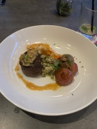 4th Course: Garlic & Peppercorn Crusted Filet Mignon & Miso Butter Poached Lobster Tail | Creamed Sesame Spinach