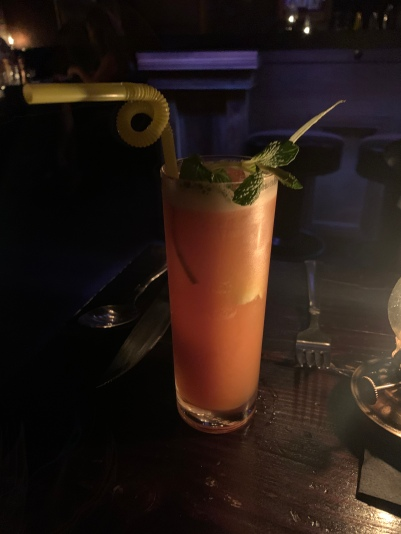 Road to Morocco: pimms, sloe berry liqueur, aloe eux de vie, strawberry, mint, turmeric, lime, bitters
