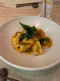 Curry Bolognese: Handmade pappardelle, curry leaf, madras curry