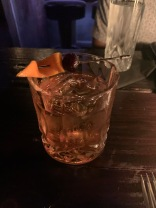 Fashion Forward: Buffalo trace bourbon, cognac, bonal, orange, cherry, peychauds bitters, angostura bitters